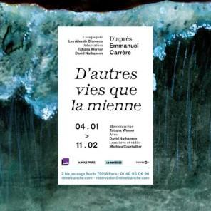 D'autres vies que la mienne, d'Emmanuel Carrère au Théâtre de la Reine Blanche